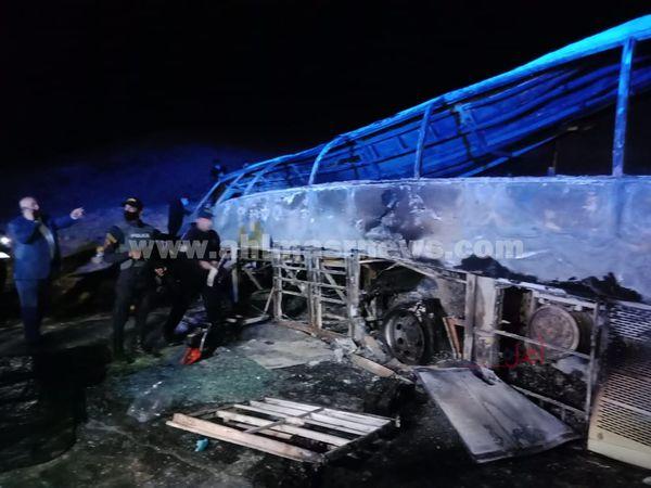 حادث تصادم أتوبيس بسيارة نقل بأسيوط