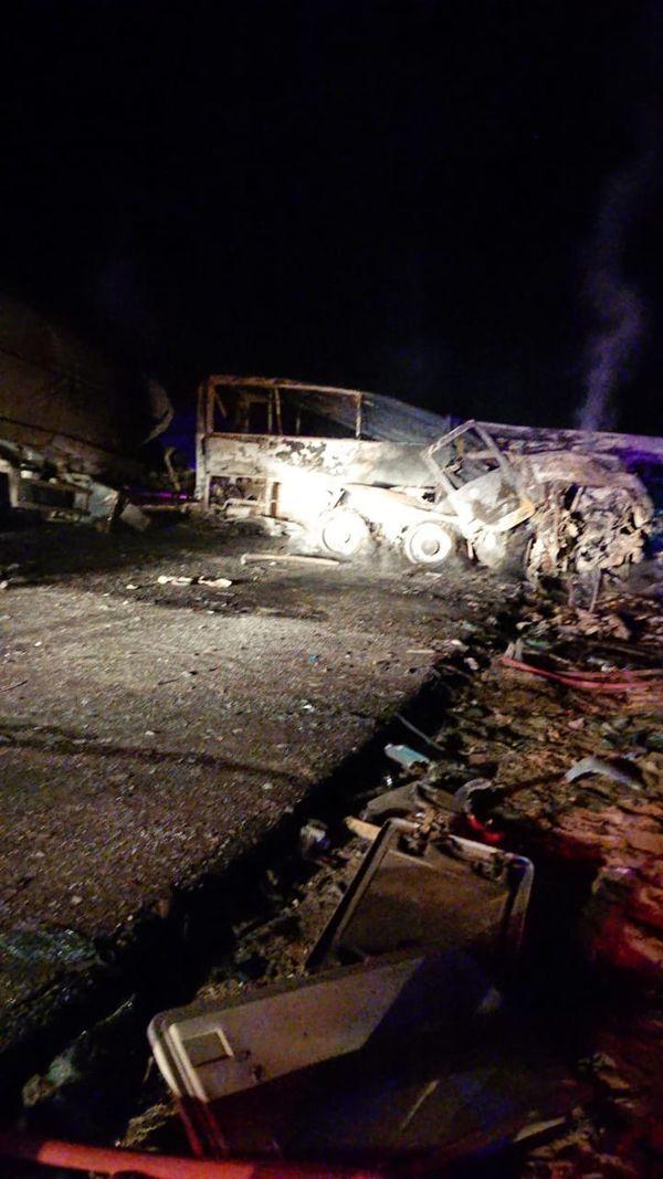 حادث تفحم أتوبيس على طريق أسيوط الصحراوى