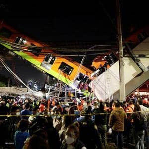 انهيار جسر بسبب مرور قطار فوقه بالمكسيك