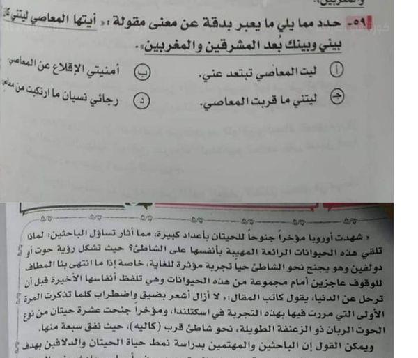 نموذج إجابة امتحان اللغة العربية للصف الثالث الثانوي
