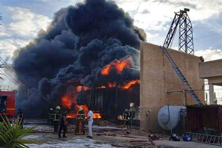 حريق بمحطة انتاج كهرباء شمال الجيزة