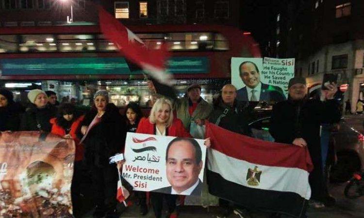 استقبال الجالية المصرية للسيسي في لندن